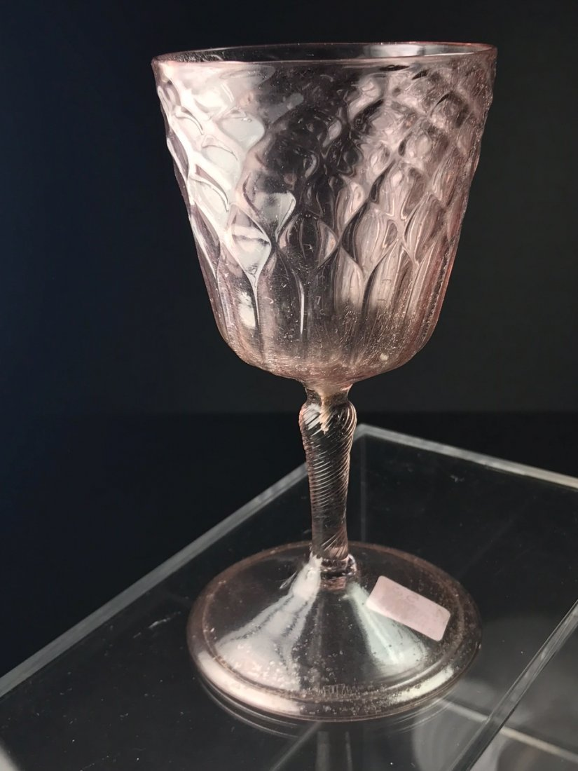 RARE 17TH CENTURY DIAMOND OVER FLUTES WINE GLASS - 2