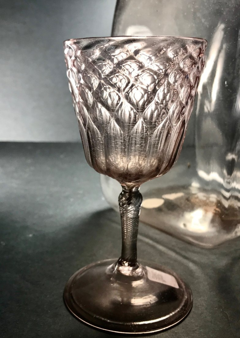 RARE 17TH CENTURY DIAMOND OVER FLUTES WINE GLASS - 3