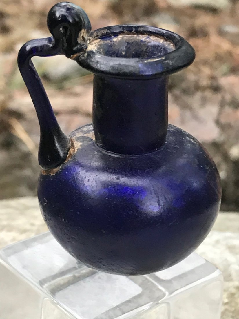 ROMAN BLUE HANDLED JUG - 2