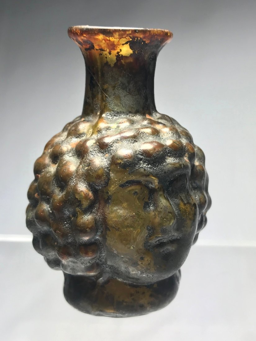 ROMAN FIGURAL HEAD FLASK: 1st / 2nd century