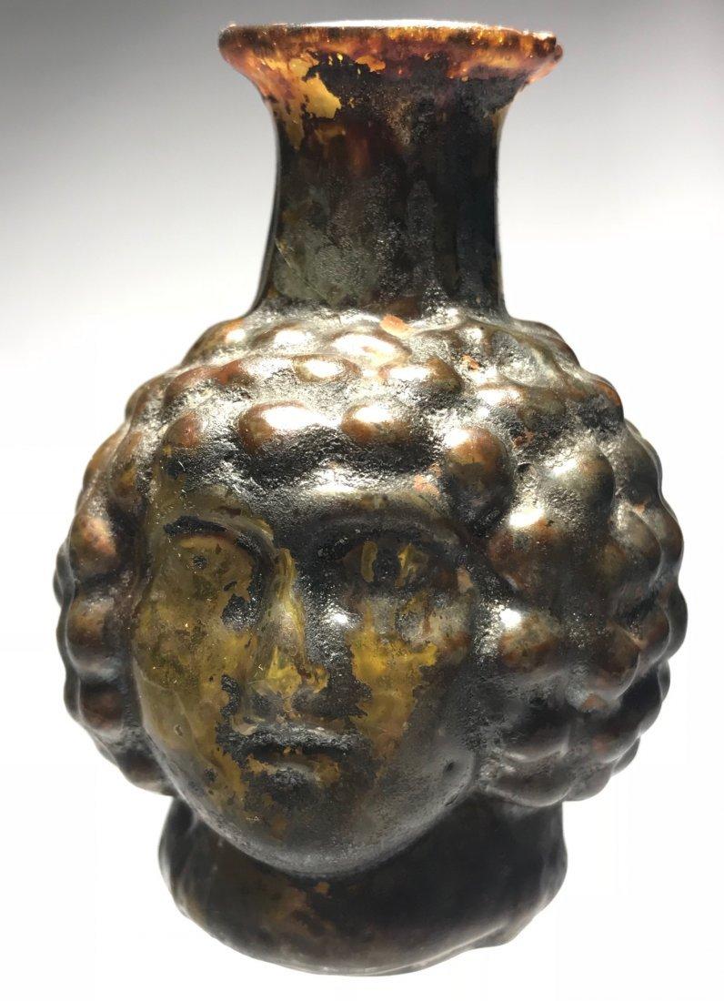 ROMAN FIGURAL HEAD FLASK: 1st / 2nd century - 5