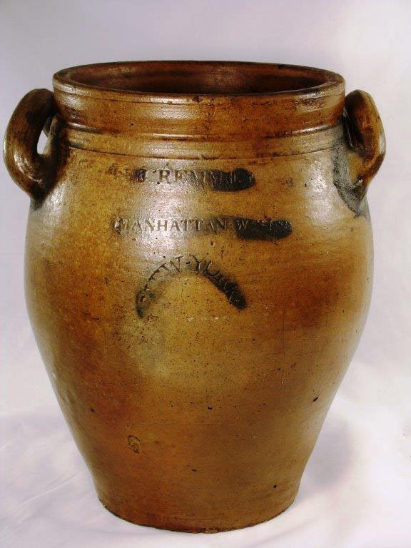 J.REMMEY MANHATTAN WELLS, NY; INCISED FLORAL CROCK