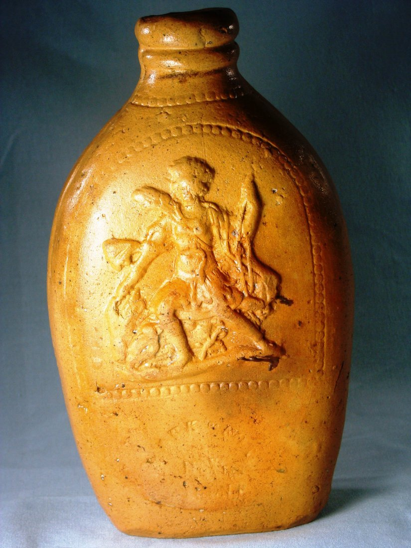 STONEWARE HISTORICAL FLASK WITH AMERICAN INDIAN MOTIF