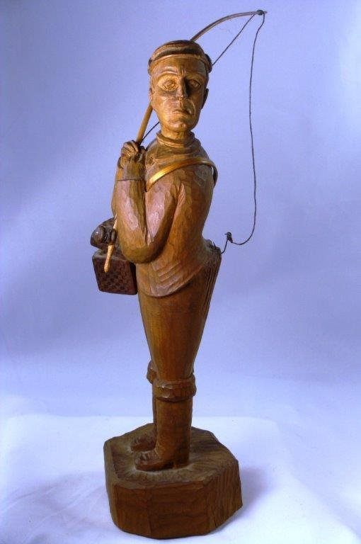 EARLY MAINE FOLK ART CARVING: FLY FISHERMAN, 1900-20