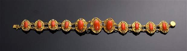 GOLD, CORAL AND DIAMOND BRACELET - EARLY 20TH CENTURY,