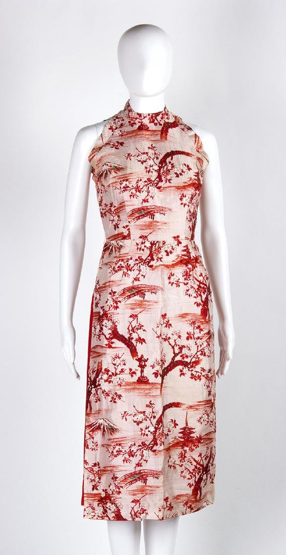 VINTAGE 1950's CHINESE STYLE SILK DRESS - 3