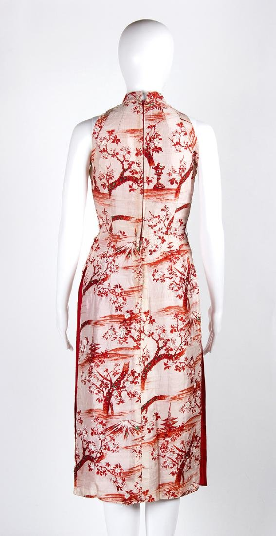 VINTAGE 1950's CHINESE STYLE SILK DRESS - 5