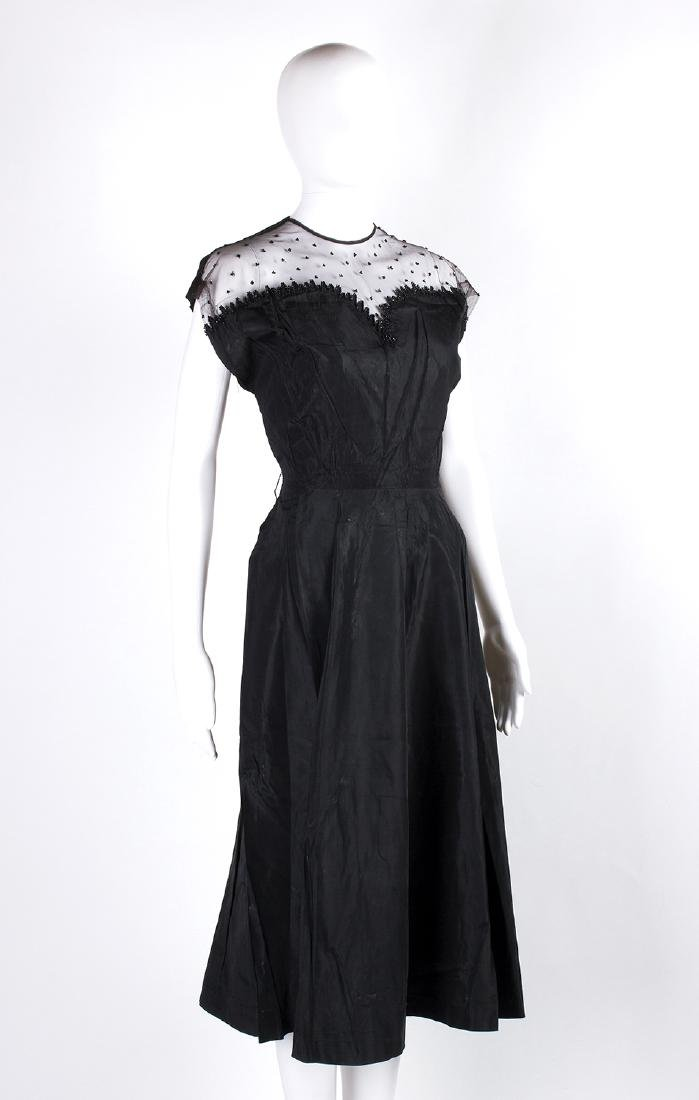 VINTAGE 1950's COCKTAIL SILK TAFFETÁ BLACK DRESS