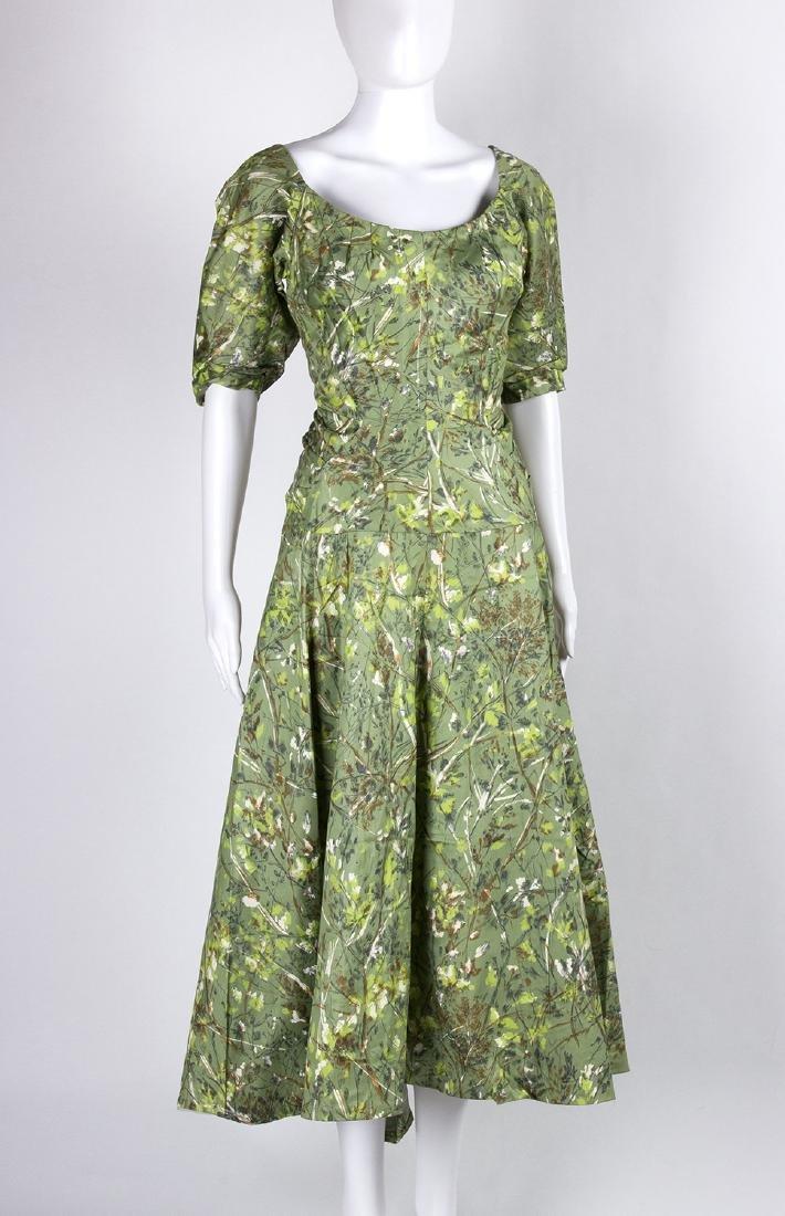 VINTAGE 1950's COCKTAIL GREEN DRESS - 2