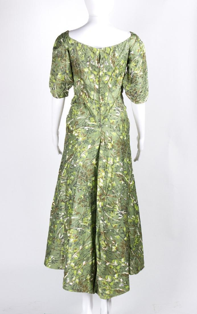 VINTAGE 1950's COCKTAIL GREEN DRESS - 3