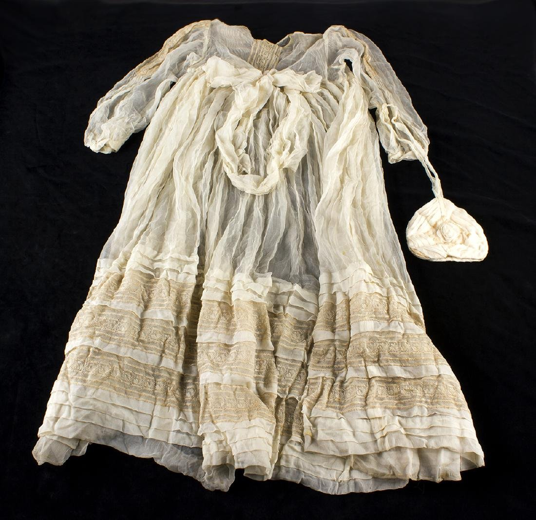 VINTAGE CHRISTENING CHILD DRESS AND PURSE