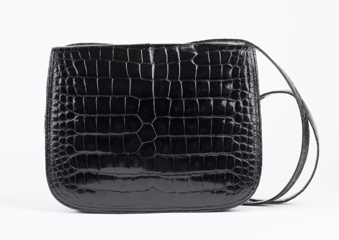 VINTAGE GUCCI BLACK CROCODILE LEATHER BAG - 2