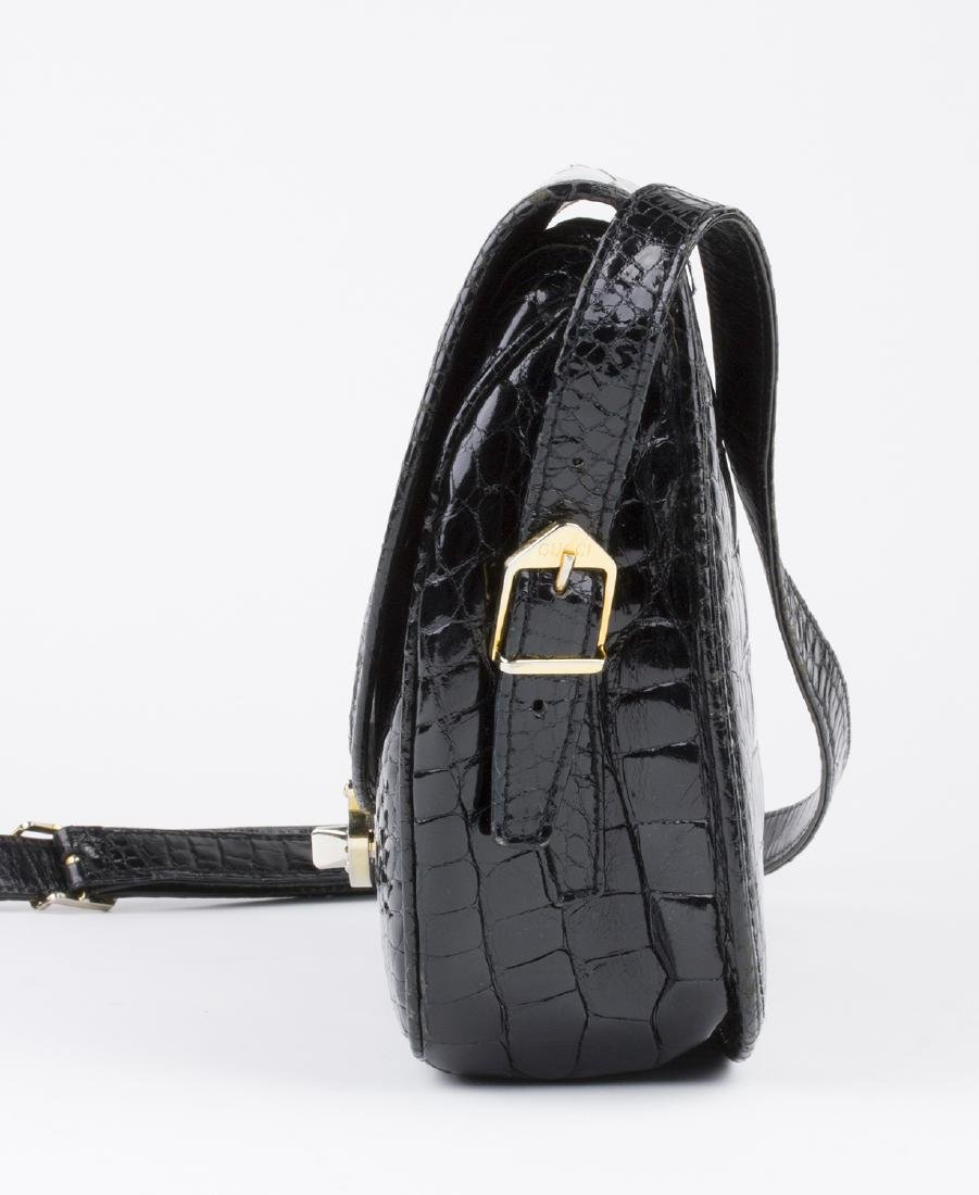 VINTAGE GUCCI BLACK CROCODILE LEATHER BAG - 3