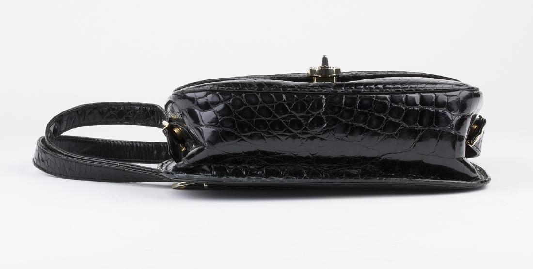 VINTAGE GUCCI BLACK CROCODILE LEATHER BAG - 4