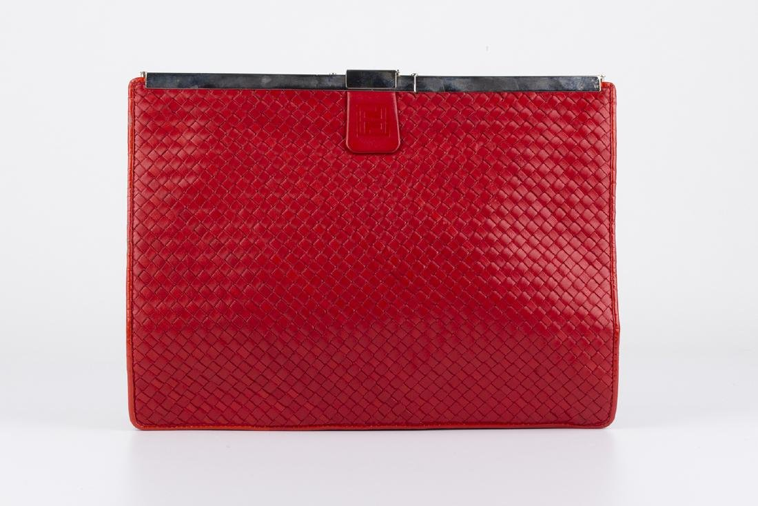 VINTAGE FENDI RED WOVEN LEATHER CLUTCH