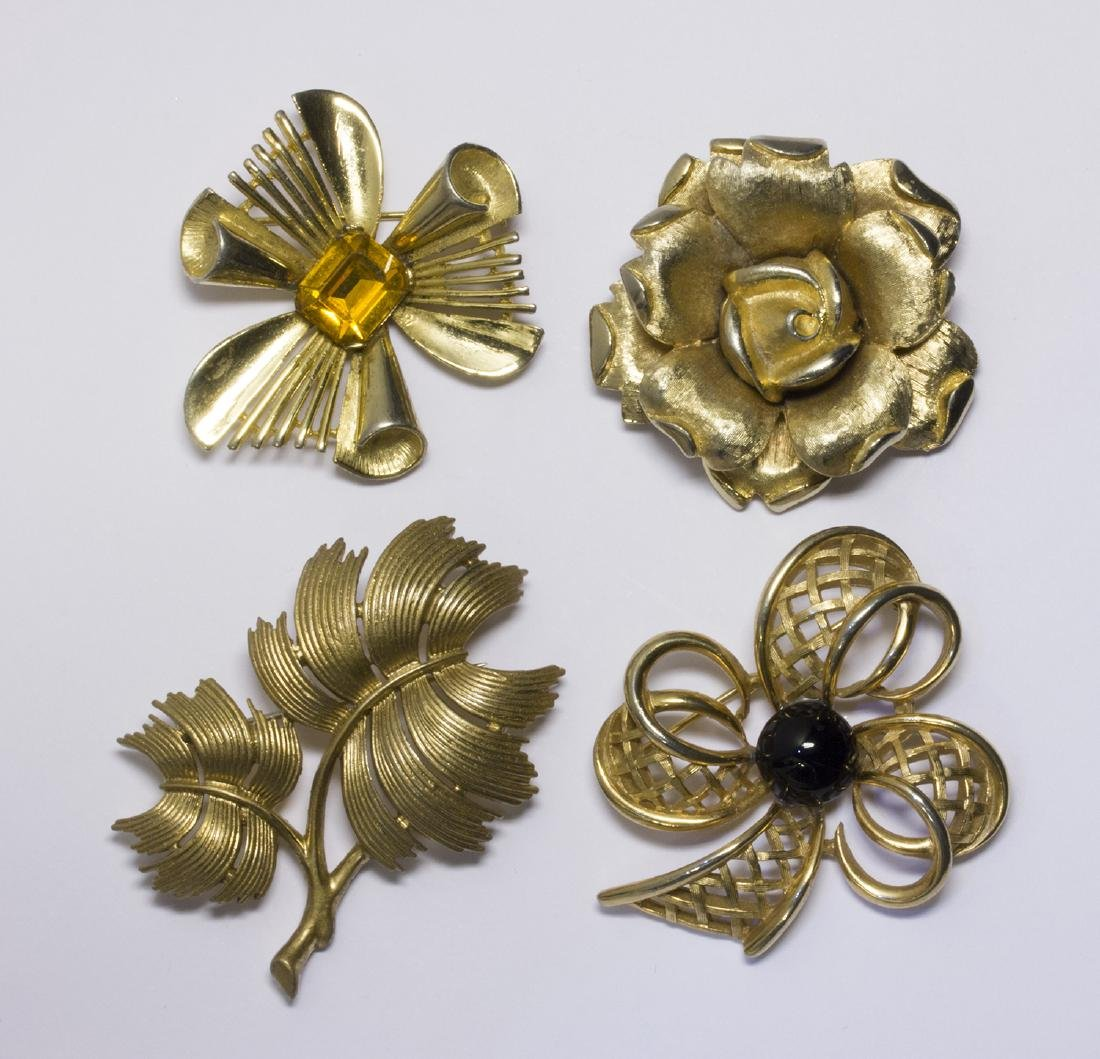 LOT OF FOUR VINTAGE TRIFARI BROOCHES