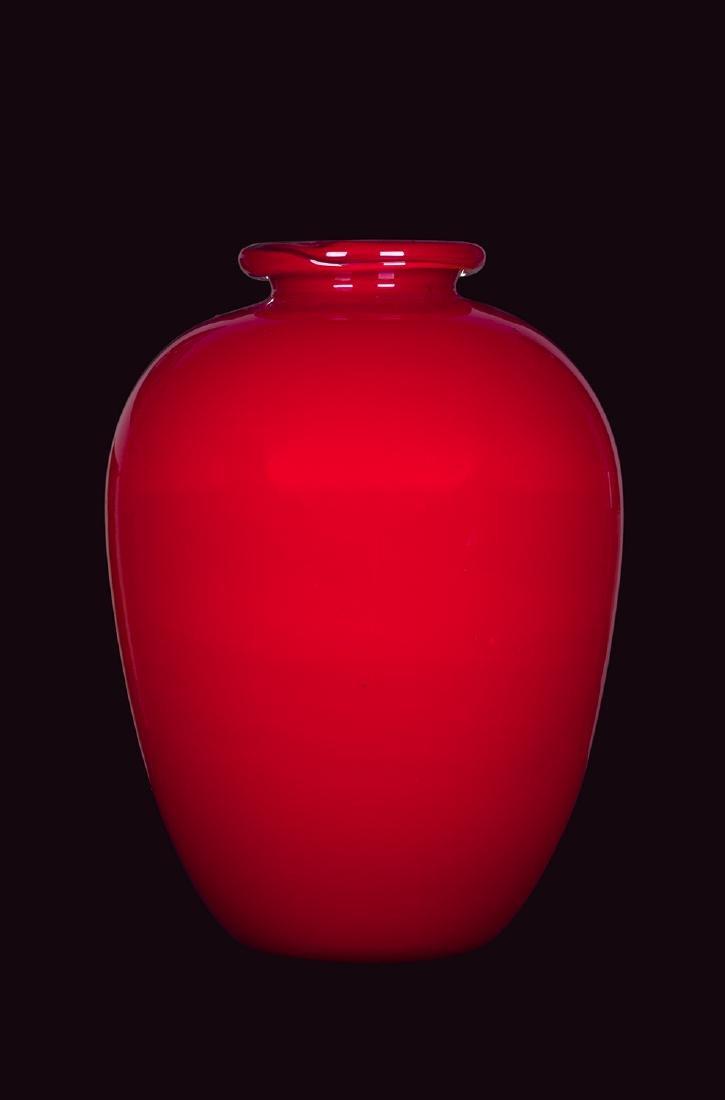 CARLO SCARPA - Red glass vase, 1940