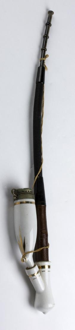 Wooden and ceramic pipe; Denmark, early 20th Century