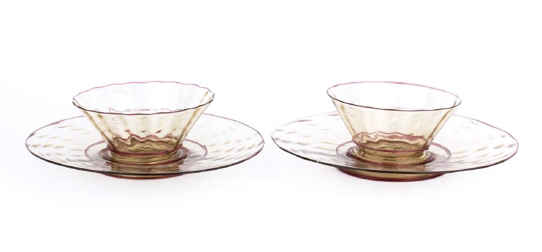 Pair of cups with saucers, 20's