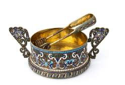 RUSSIAN 84 ZOLOTNIK SILVER (875‰ ) AND CLOISONNE