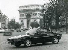 Fiat X 1/9 sports car advertising photo in Paris, ca.