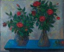 MARIO MAFAI - Two vases of roses, 1952