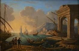 NEAPOLITAN SCHOOL, 18th CENTURY - Coastal capriccio