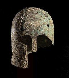 OUTSTANDING CORINTHIAN BRONZE HELMET 650 - 600 BC