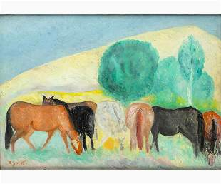 GIUSEPPE CESETTI Tuscania, 1902 - 1990 - Grazing horses