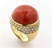 Cerasuolo coral and diamonds ring