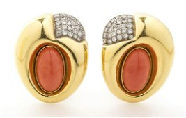 Cerasuolo coral and diamonds  earrings