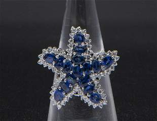 Sapphires and diamonds ring