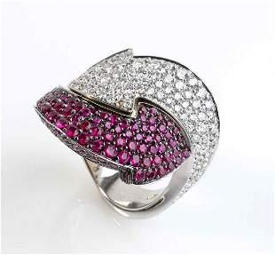 Diamonds and stones ring, manifacture ENIGMA BULGARI