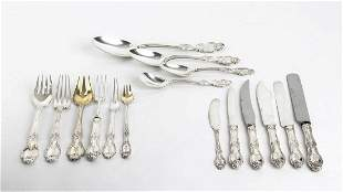 American sterling silver flatware service for 12, 211