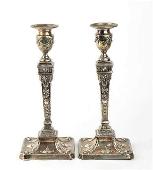 Pair of English sterling silver candlesticks - London