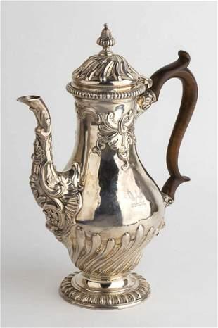 English sterling silver Georgian coffee pot - London