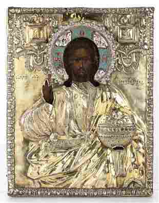 """Russian icon with silver oklad of """"Christ with the"""