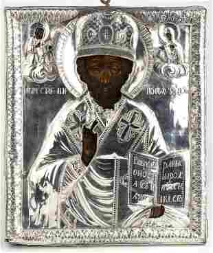 Russian icon with silver oklad of Saint Nicholas - 19th