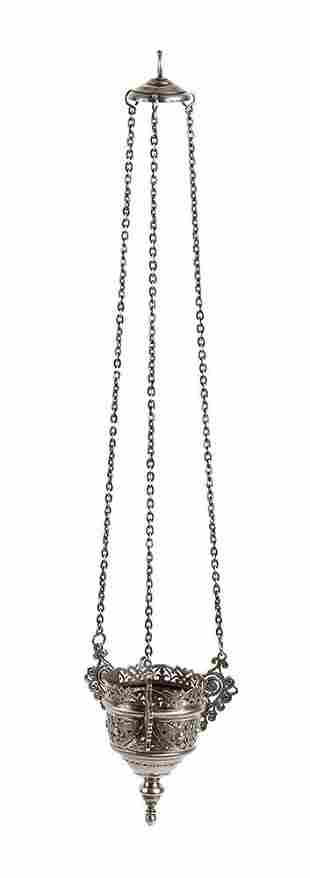 Russian 875/1000 silver pendant icon oil lamp - Moskow