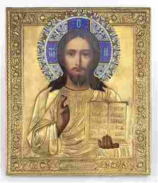 Russian icon with metal oklad of the Christ Pantocrator