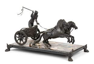 Italian Grand Tour bronze and hard stones sculpture -