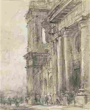Profile of monumental church facade with figures below