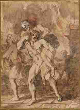 Aeneas saves his father Anchises from the fire of Troy