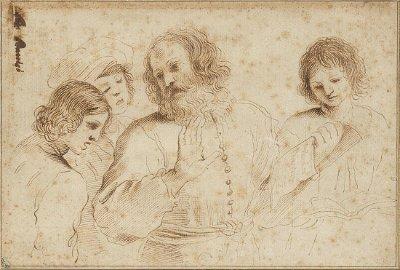 "Three young singers around the teacher ""Scuola di canto"