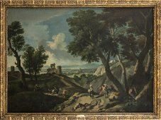 Landscape of Lazio with shepherds and a ruined castle