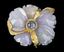 Gold, jadeite, blue asteria sapphire and diamonds
