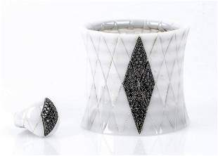 White ceramic and black diamonds ring and bracelet - by