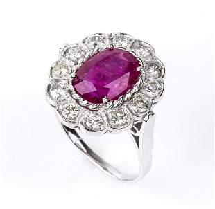 Gold, Burma ruby and diamonds ring
