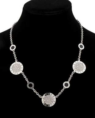 Gold and diamonds necklace - by BVLGARI