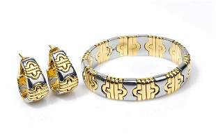 Gold bracelet and earrings - by BVLGARI